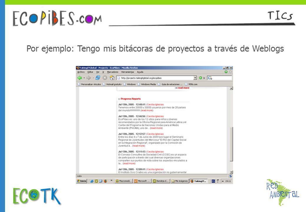 Por ejemplo: Tengo mis bitácoras de proyectos a través de Weblogs