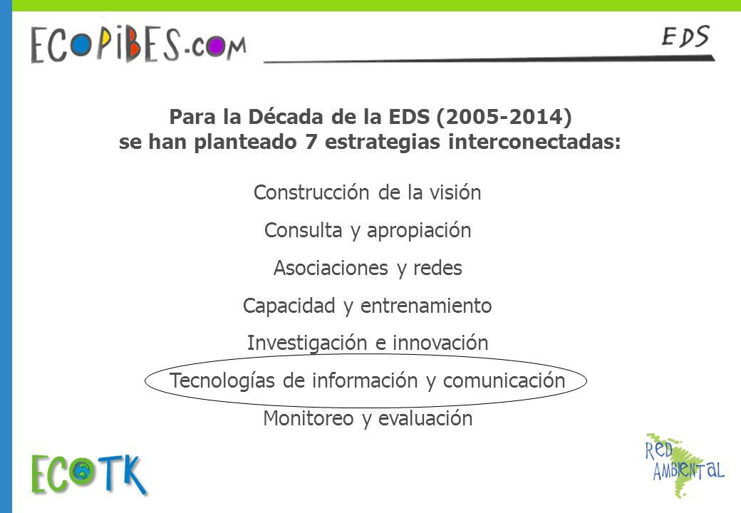 Construcción de la visión Consulta y apropiación Asociaciones y redes