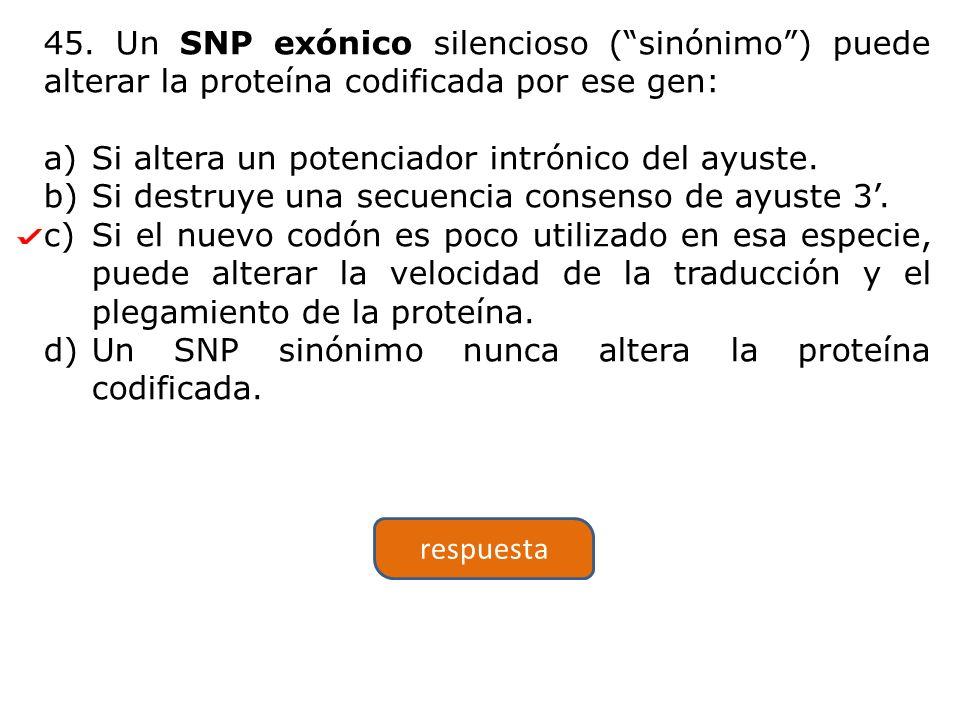 45. Un SNP exónico silencioso ( sinónimo ) puede alterar la proteína codificada por ese gen: