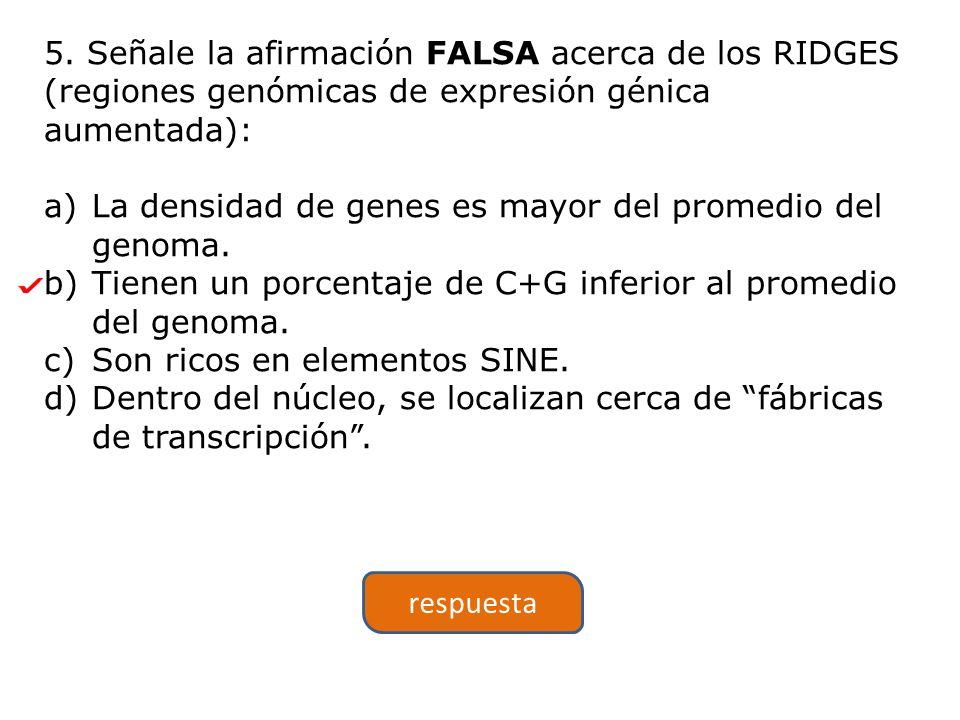 5. Señale la afirmación FALSA acerca de los RIDGES (regiones genómicas de expresión génica aumentada):