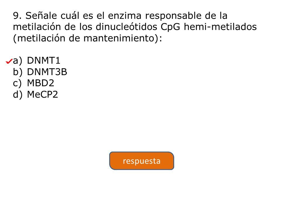 9. Señale cuál es el enzima responsable de la metilación de los dinucleótidos CpG hemi-metilados (metilación de mantenimiento):