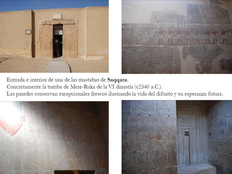 Entrada e interior de una de las mastabas de Saqqara.