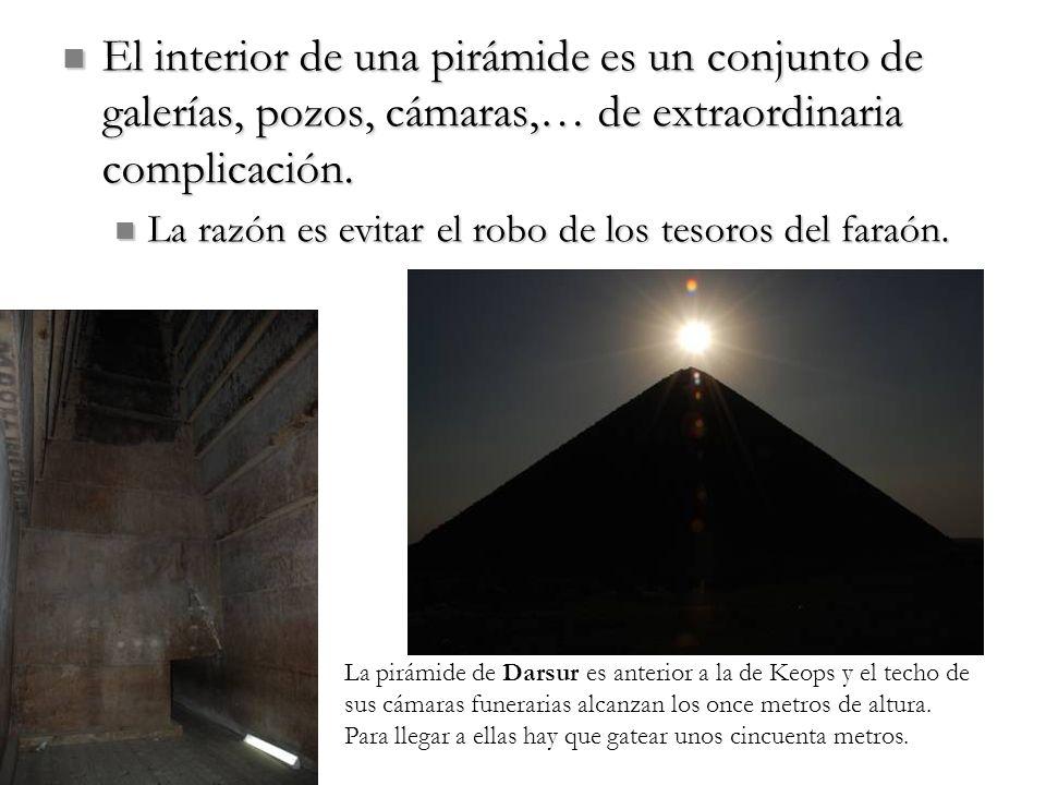 El interior de una pirámide es un conjunto de galerías, pozos, cámaras,… de extraordinaria complicación.