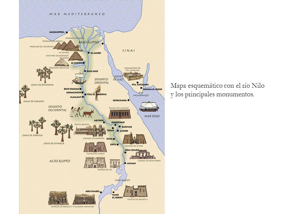 Mapa esquemático con el río Nilo