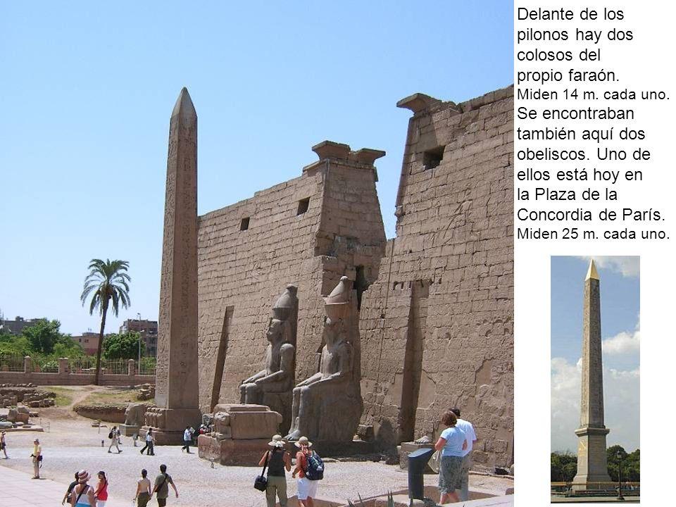 Delante de los pilonos hay dos colosos del propio faraón.