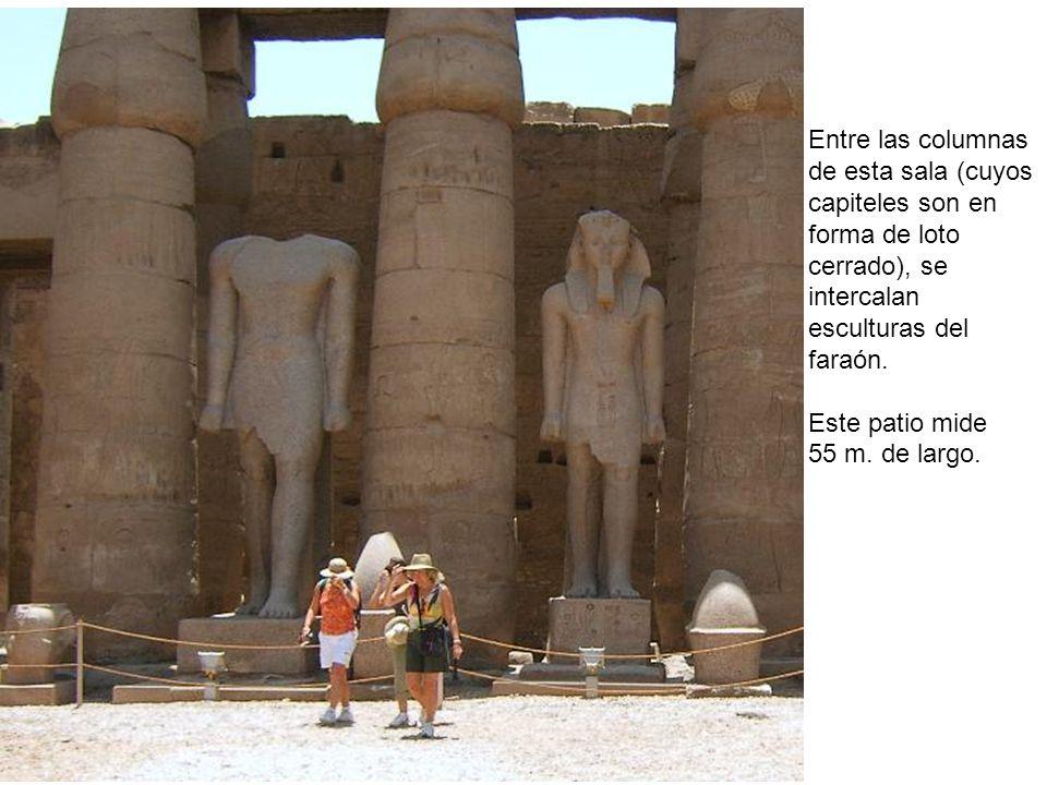Entre las columnas de esta sala (cuyos. capiteles son en. forma de loto. cerrado), se. intercalan.