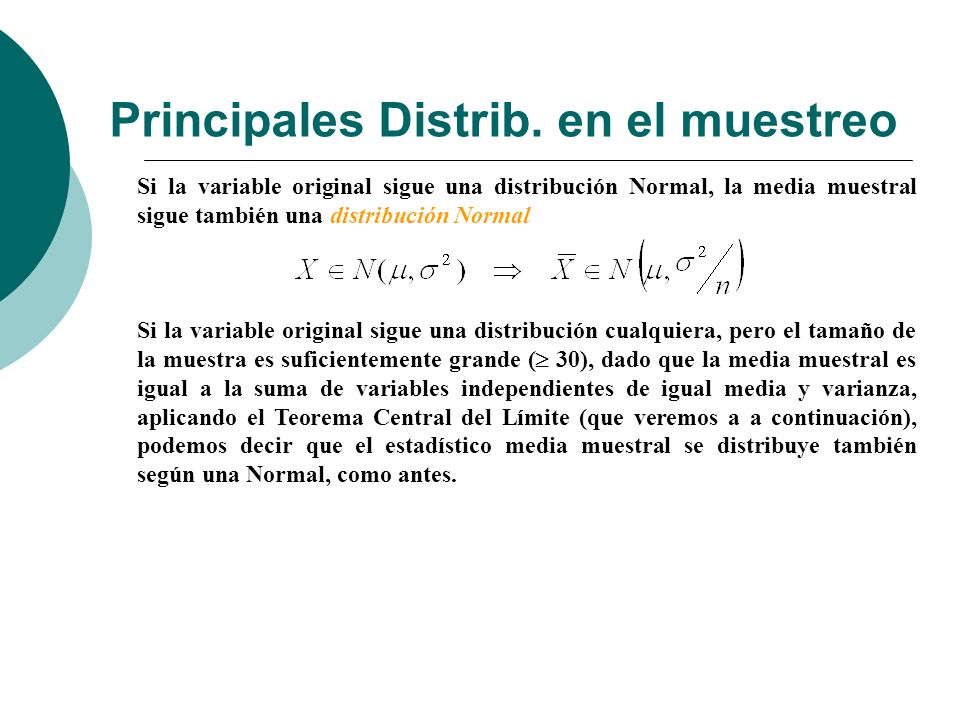 Principales Distrib. en el muestreo