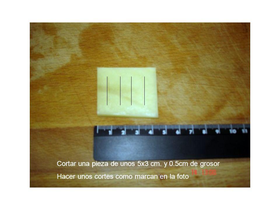Cortar una pieza de unos 5x3 cm. y 0.5cm de grosor