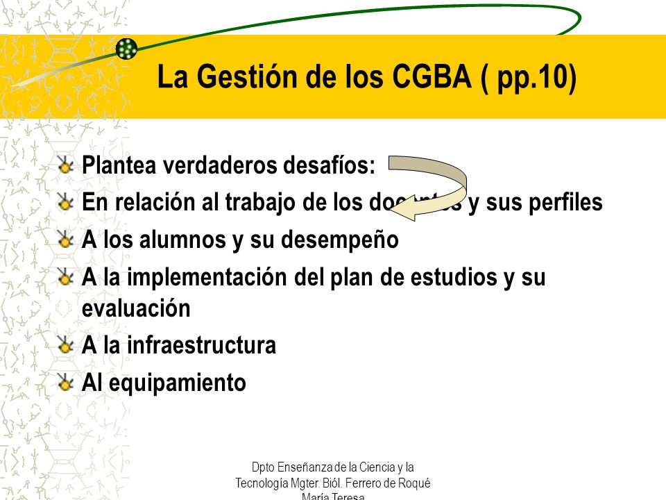 La Gestión de los CGBA ( pp.10)
