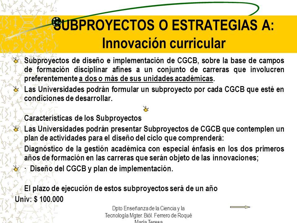 SUBPROYECTOS O ESTRATEGIAS A: Innovación curricular