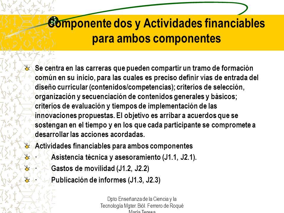Componente dos y Actividades financiables para ambos componentes