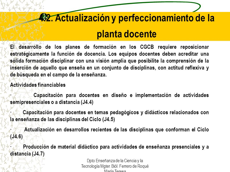4.2. Actualización y perfeccionamiento de la planta docente