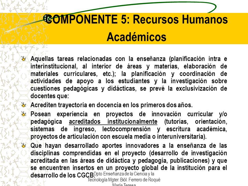 COMPONENTE 5: Recursos Humanos Académicos