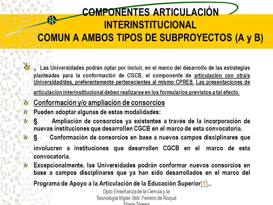 COMPONENTES ARTICULACIÓN INTERINSTITUCIONAL COMUN A AMBOS TIPOS DE SUBPROYECTOS (A y B)