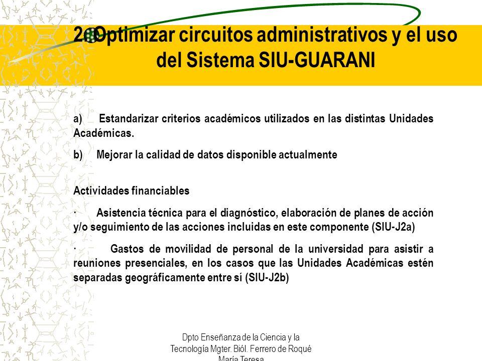 2. Optimizar circuitos administrativos y el uso del Sistema SIU-GUARANI