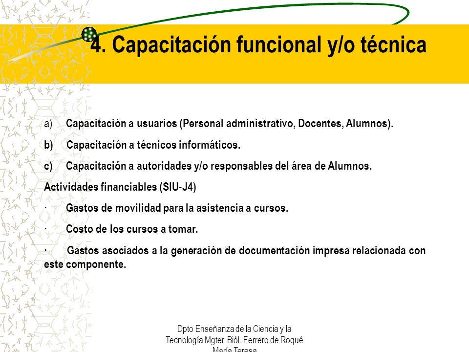 4. Capacitación funcional y/o técnica