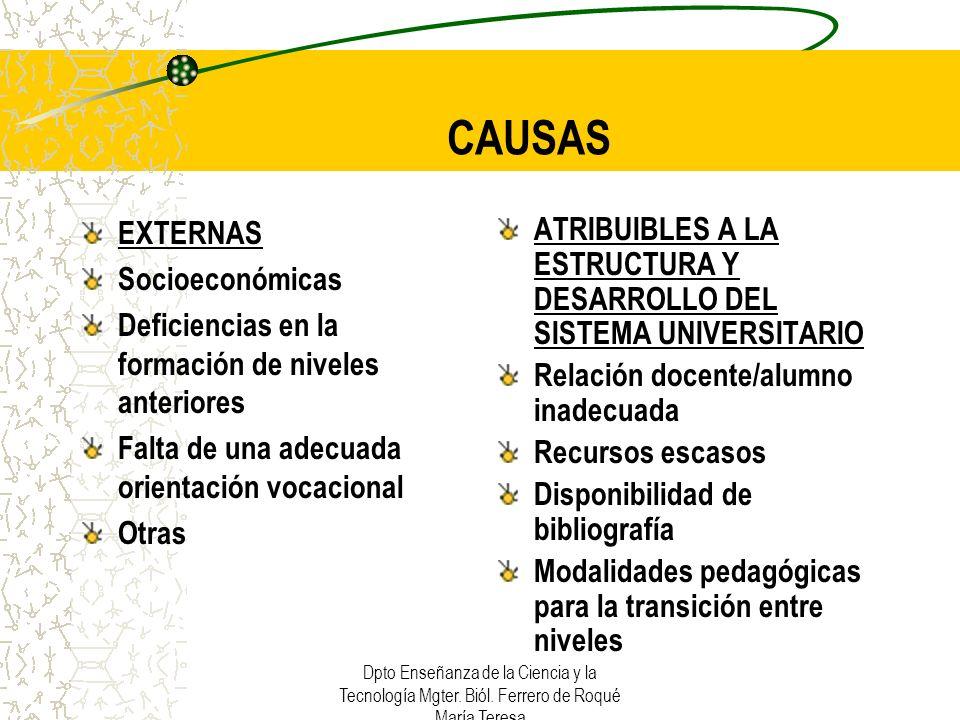 CAUSAS EXTERNAS Socioeconómicas
