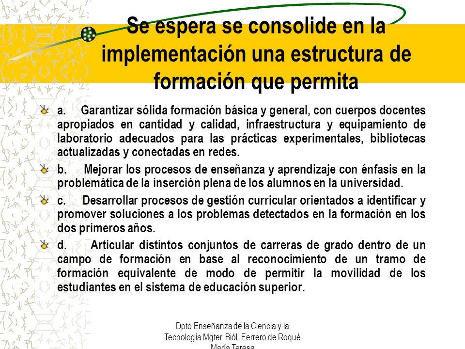 Se espera se consolide en la implementación una estructura de formación que permita