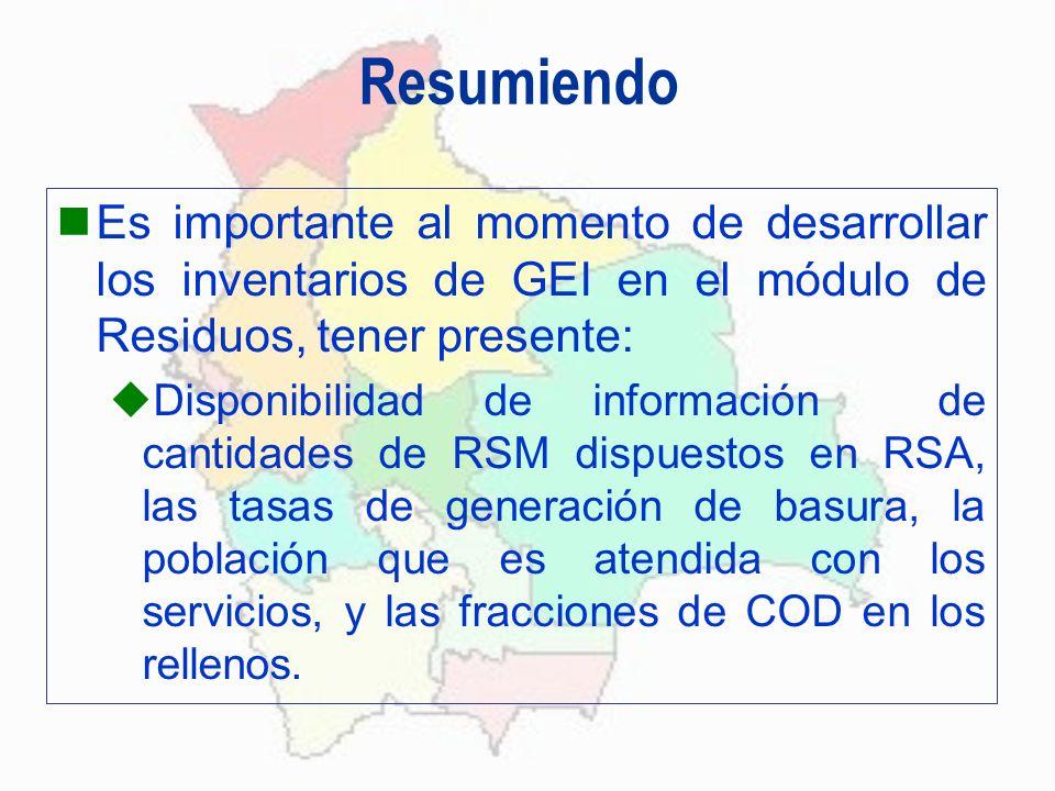 Resumiendo Es importante al momento de desarrollar los inventarios de GEI en el módulo de Residuos, tener presente: