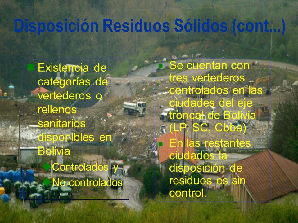 Disposición Residuos Sólidos (cont...)