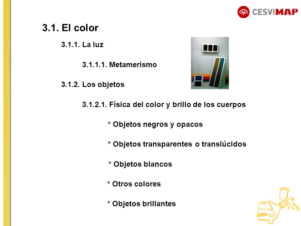 3.1. El color 3.1.1. La luz 3.1.1.1. Metamerismo 3.1.2. Los objetos