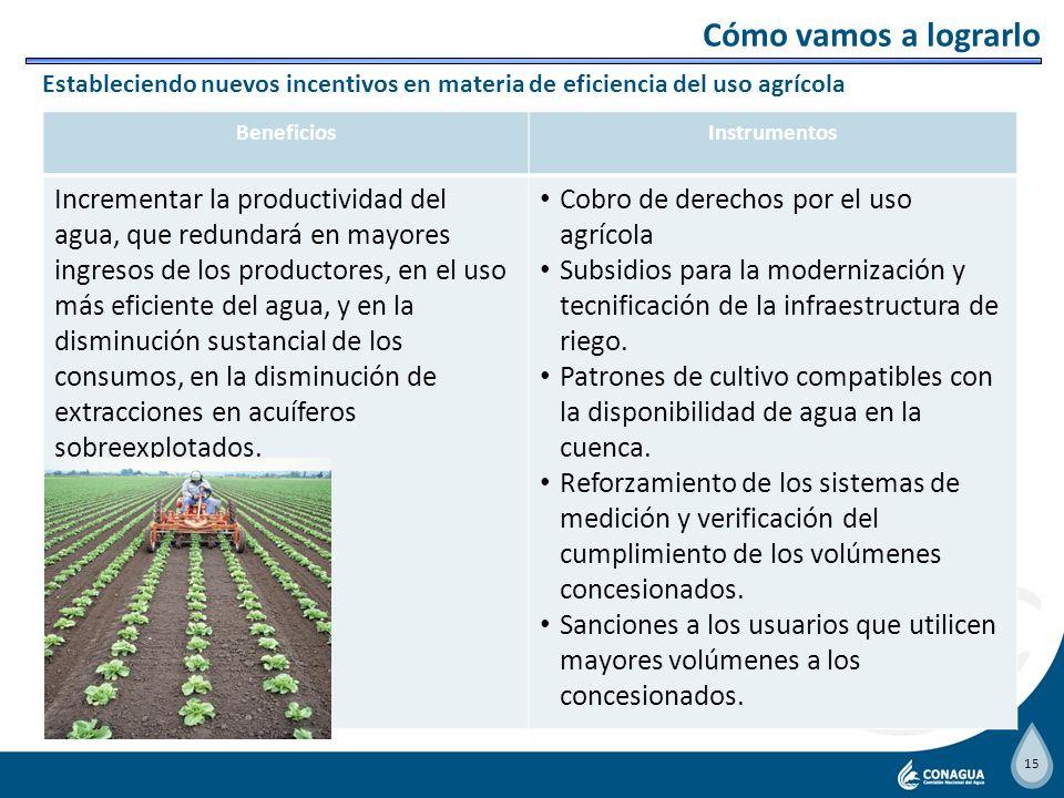 Cómo vamos a lograrlo Estableciendo nuevos incentivos en materia de eficiencia del uso agrícola. Beneficios.
