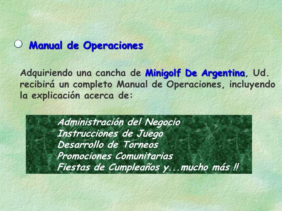 Manual de Operaciones Adquiriendo una cancha de Minigolf De Argentina, Ud. recibirá un completo Manual de Operaciones, incluyendo.
