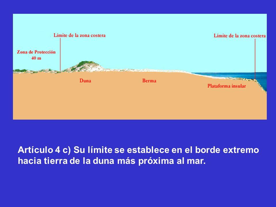 Artículo 4 c) Su límite se establece en el borde extremo hacia tierra de la duna más próxima al mar.