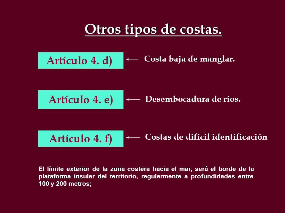 Otros tipos de costas. Artículo 4. d) Artículo 4. e) Artículo 4. f)
