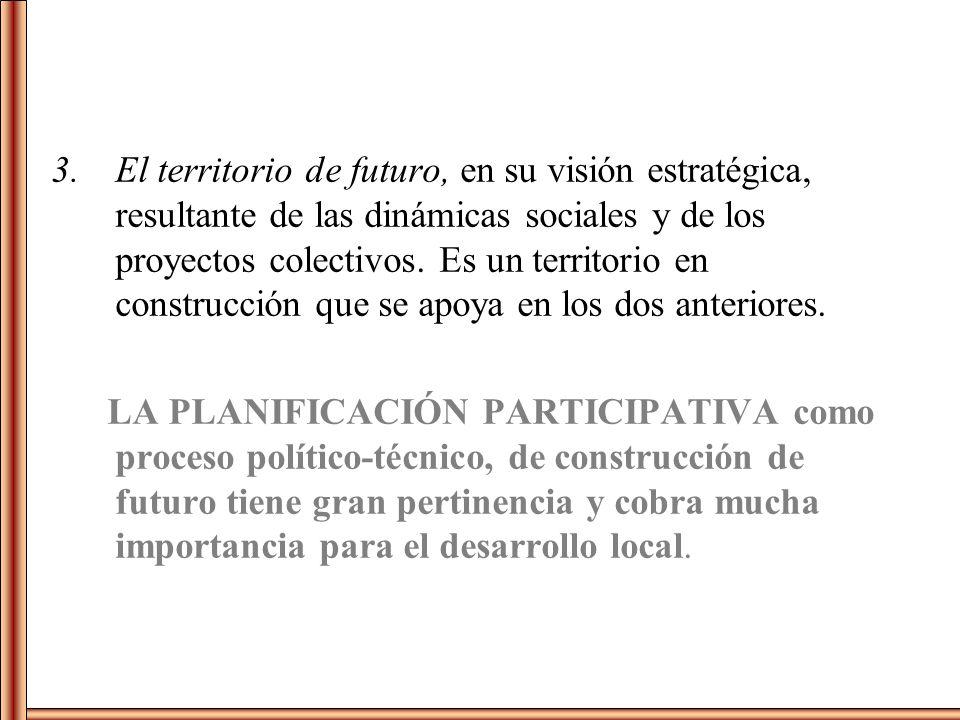 El territorio de futuro, en su visión estratégica, resultante de las dinámicas sociales y de los proyectos colectivos. Es un territorio en construcción que se apoya en los dos anteriores.