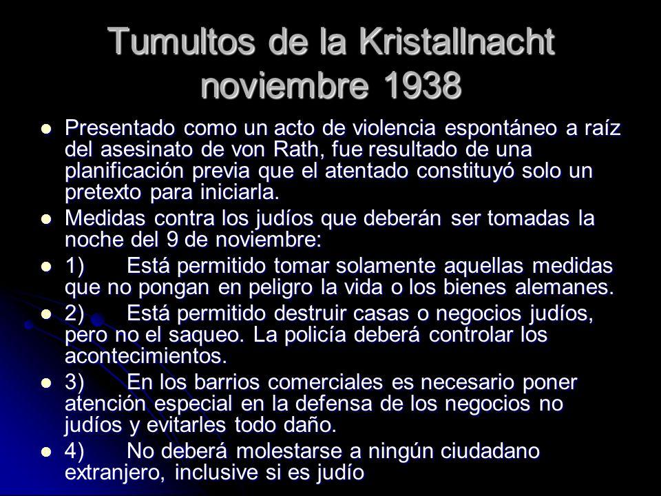 Tumultos de la Kristallnacht noviembre 1938