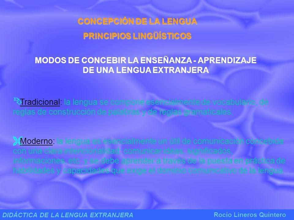 CONCEPCIÓN DE LA LENGUA PRINCIPIOS LINGÜÍSTICOS