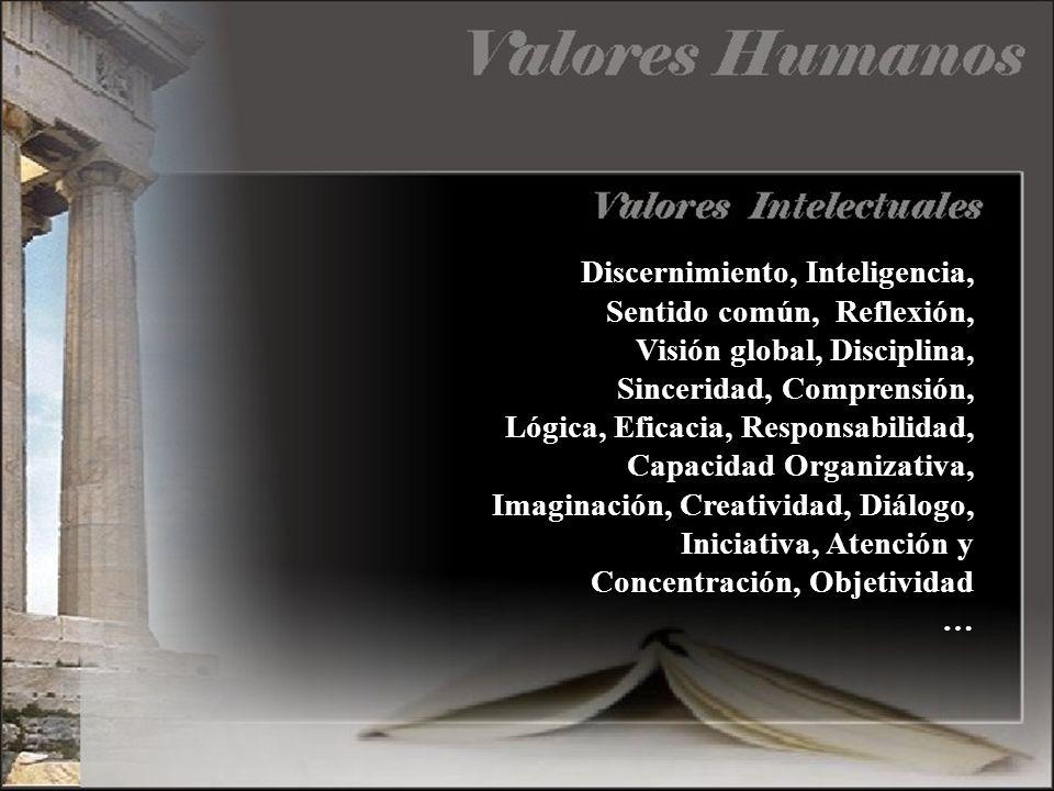 Discernimiento, Inteligencia, Sentido común, Reflexión, Visión global, Disciplina, Sinceridad, Comprensión, Lógica, Eficacia, Responsabilidad, Capacidad Organizativa, Imaginación, Creatividad, Diálogo, Iniciativa, Atención y Concentración, Objetividad …