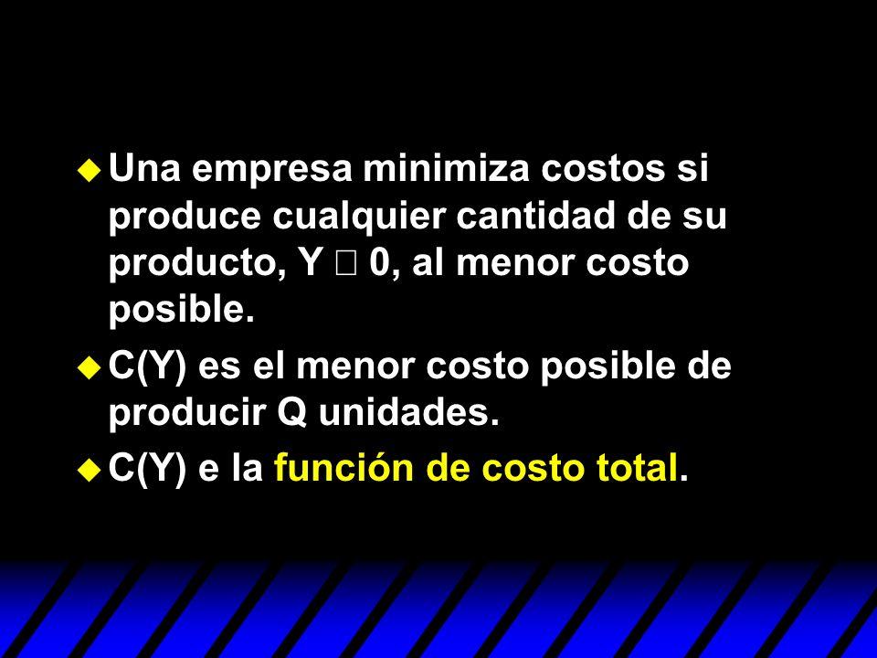 Una empresa minimiza costos si produce cualquier cantidad de su producto, Y ³ 0, al menor costo posible.