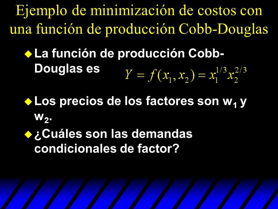 Ejemplo de minimización de costos con una función de producción Cobb-Douglas