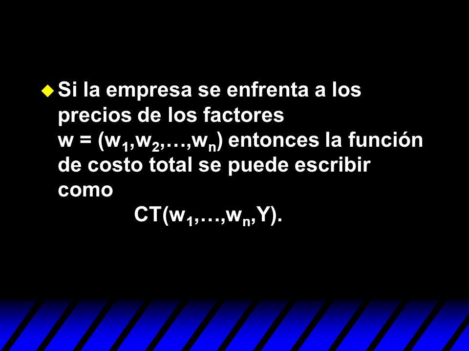 Si la empresa se enfrenta a los precios de los factores w = (w1,w2,…,wn) entonces la función de costo total se puede escribir como CT(w1,…,wn,Y).