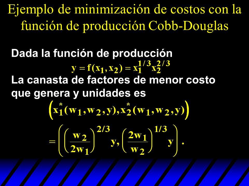 Ejemplo de minimización de costos con la función de producción Cobb-Douglas
