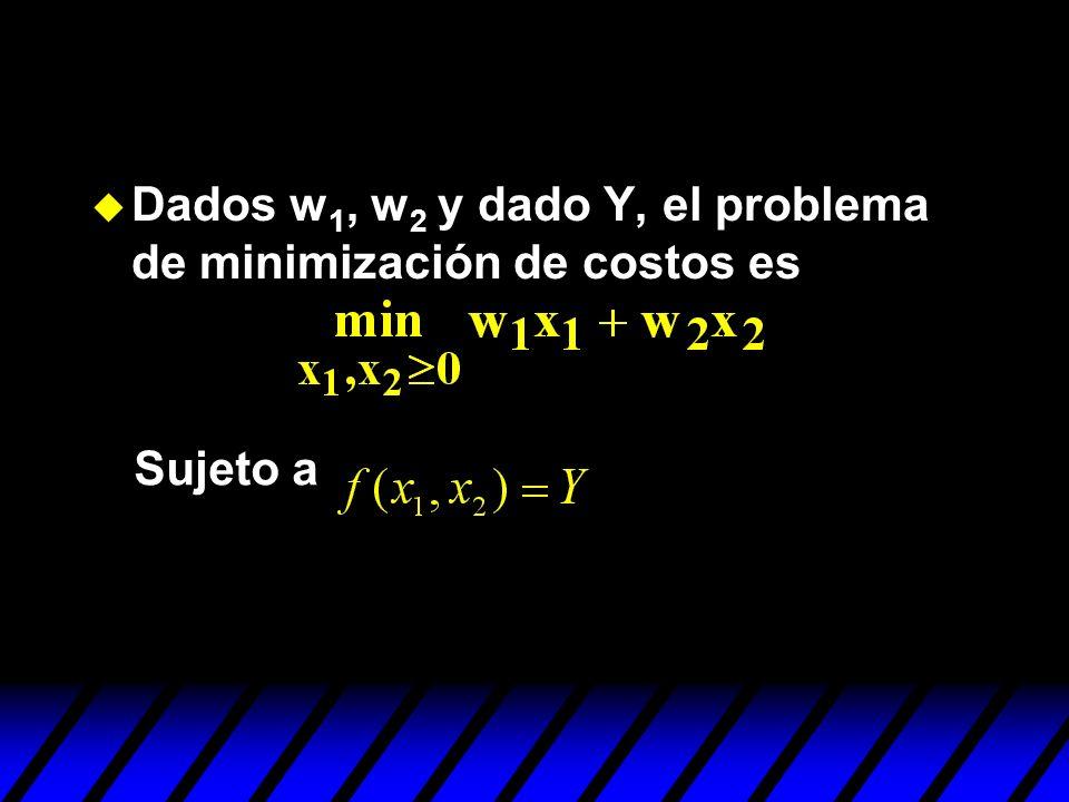 Dados w1, w2 y dado Y, el problema de minimización de costos es