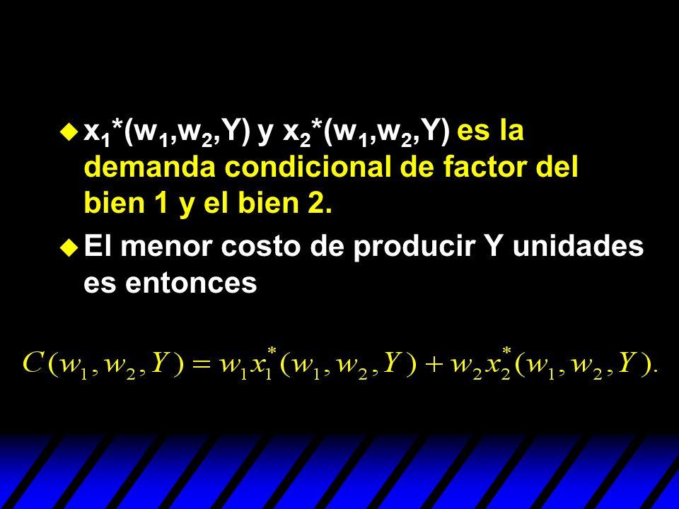 x1*(w1,w2,Y) y x2*(w1,w2,Y) es la demanda condicional de factor del bien 1 y el bien 2.