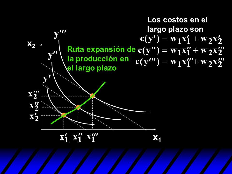 x2 x1 Los costos en el largo plazo son