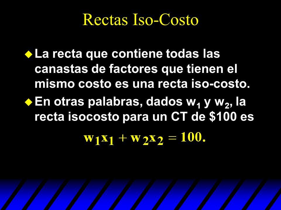 Rectas Iso-Costo La recta que contiene todas las canastas de factores que tienen el mismo costo es una recta iso-costo.