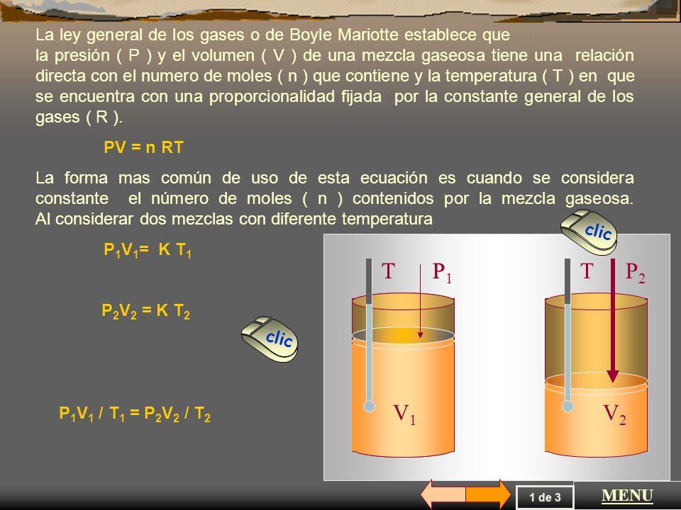 La ley general de los gases o de Boyle Mariotte establece que