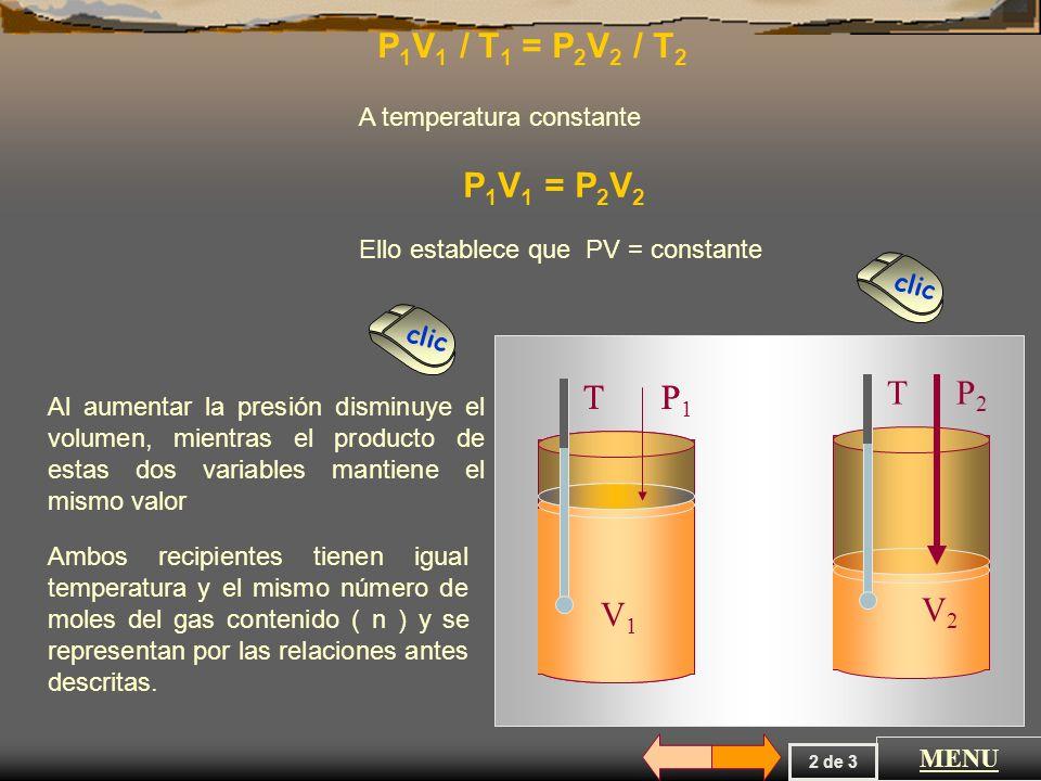 P1V1 / T1 = P2V2 / T2 T P V1 P1 T P2 V2 A temperatura constante