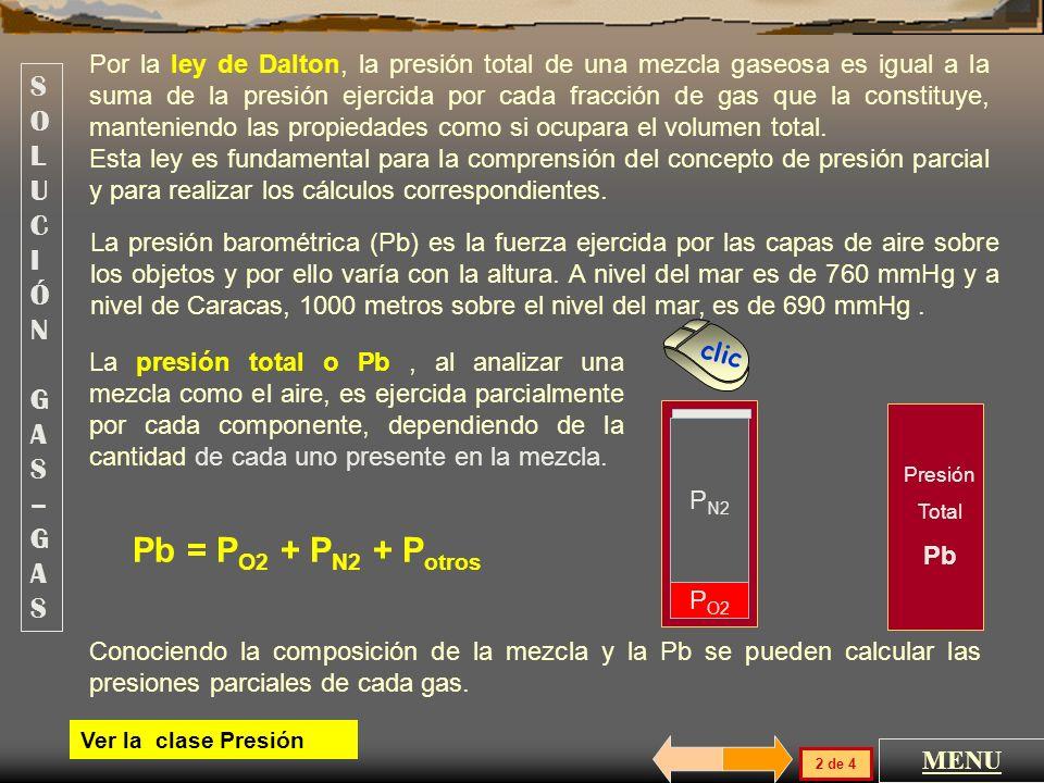 Pb = PO2 + PN2 + Potros SOLUCIÓN GAS –