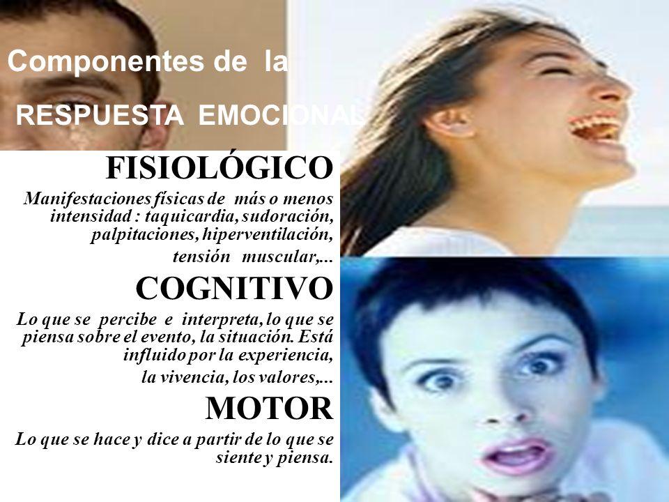 FISIOLÓGICO COGNITIVO MOTOR Componentes de la RESPUESTA EMOCIONAL