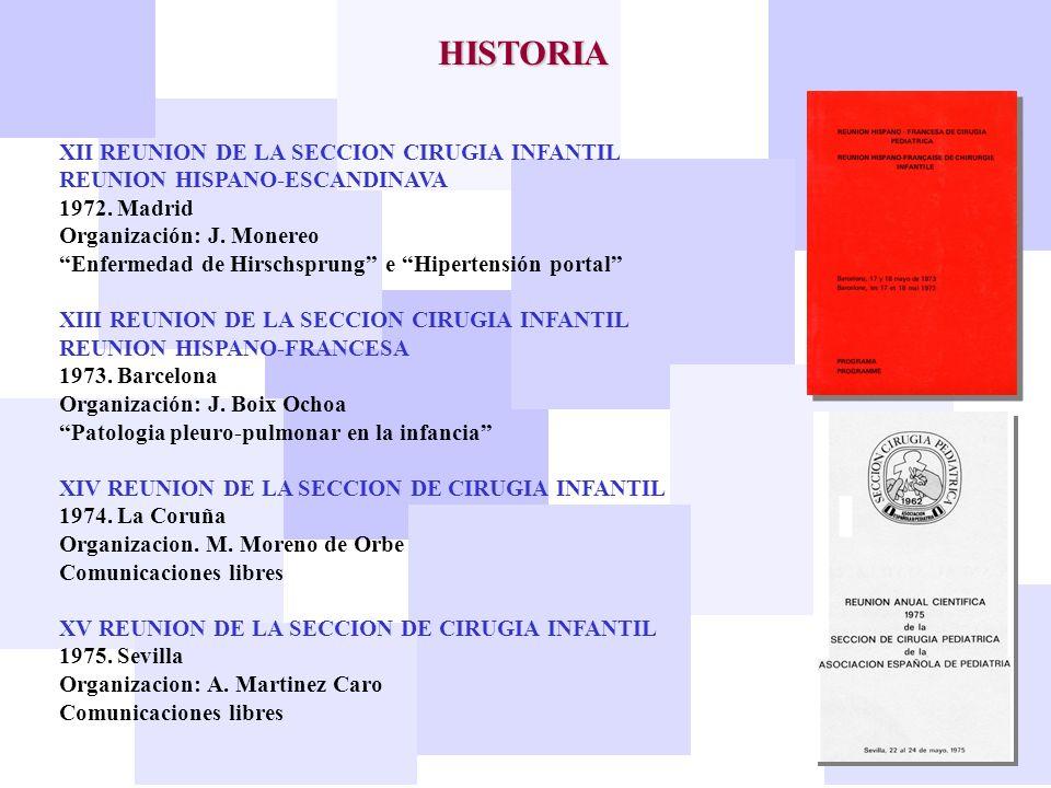 HISTORIA XII REUNION DE LA SECCION CIRUGIA INFANTIL