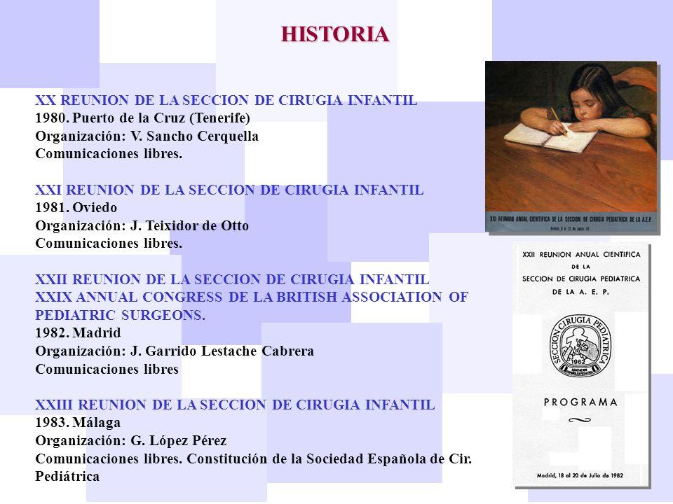 HISTORIA XX REUNION DE LA SECCION DE CIRUGIA INFANTIL