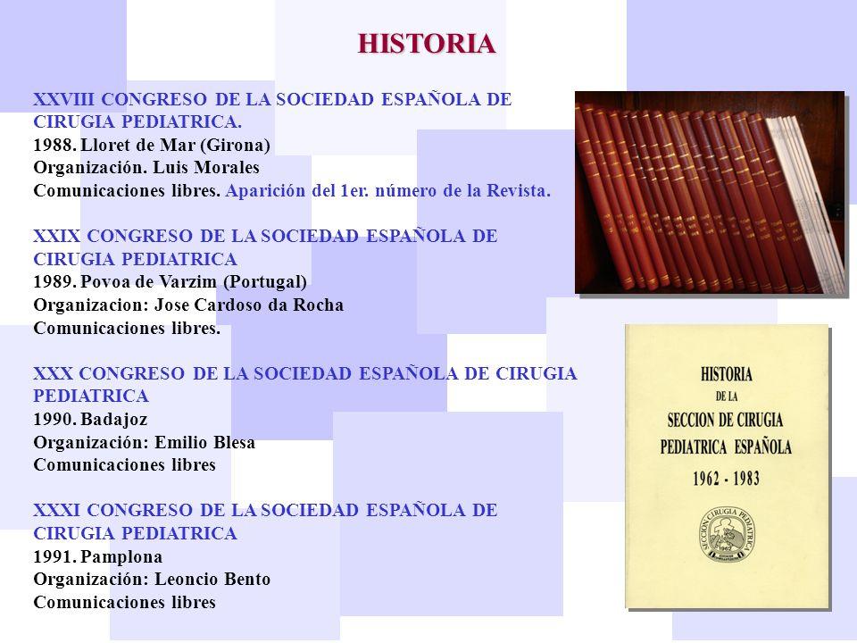 HISTORIA XXVIII CONGRESO DE LA SOCIEDAD ESPAÑOLA DE CIRUGIA PEDIATRICA. 1988. Lloret de Mar (Girona)