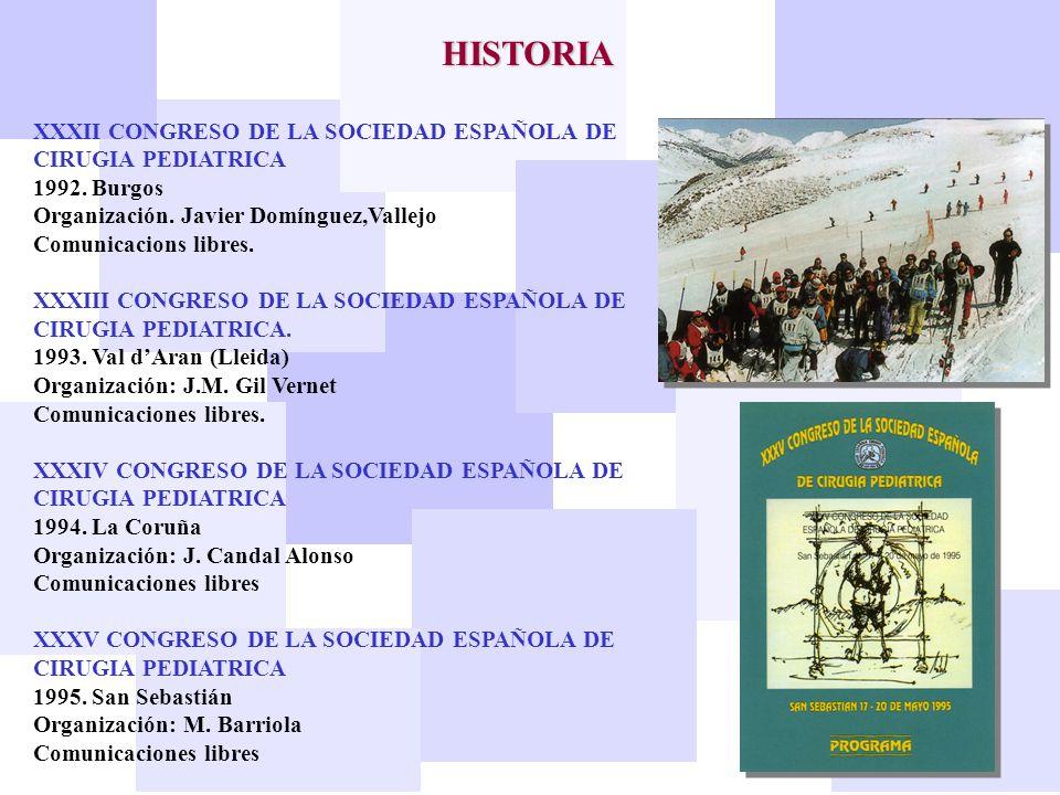 HISTORIA XXXII CONGRESO DE LA SOCIEDAD ESPAÑOLA DE CIRUGIA PEDIATRICA