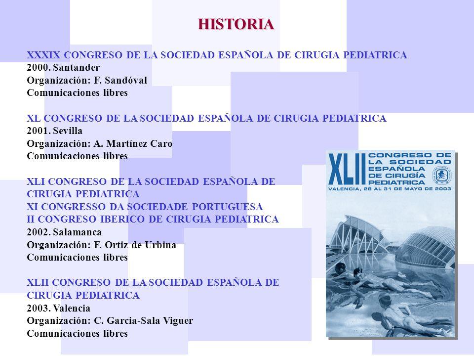 HISTORIA XXXIX CONGRESO DE LA SOCIEDAD ESPAÑOLA DE CIRUGIA PEDIATRICA